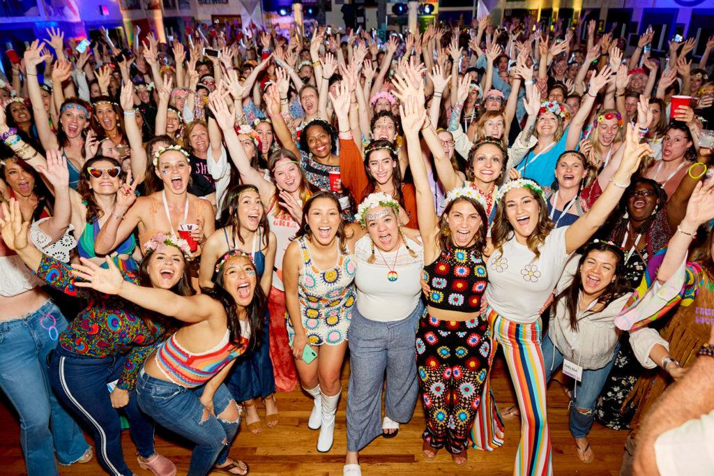 Crowd of women cheering