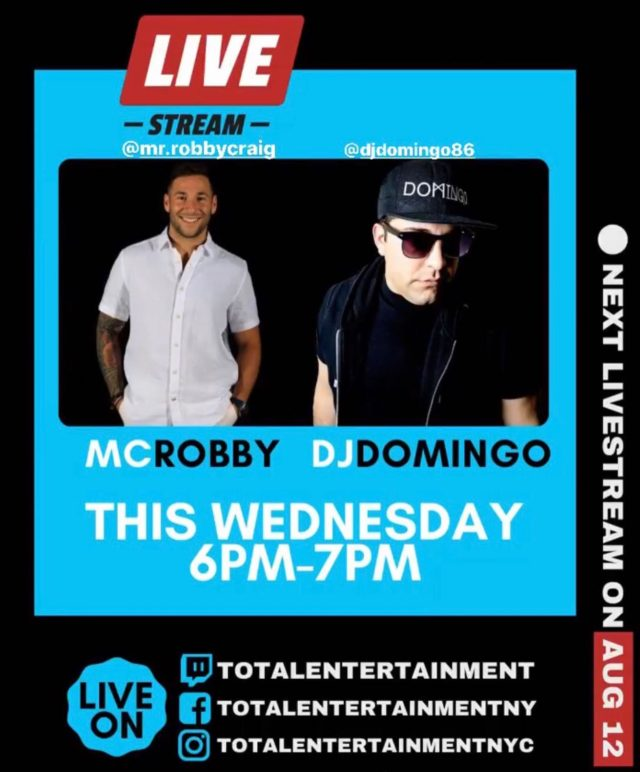 After Wednesday's magic class, tune in at 6PM for another music live stream with @mr.robbycraig & @djdomingo86